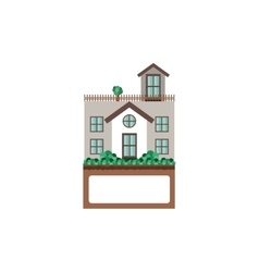 House with terrace and label vector
