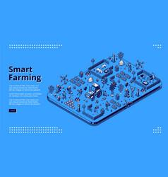 Isometric banner smart farming vector