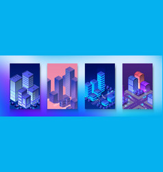 isometric set neon night ultraviolet module city vector image