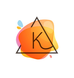 K letter logo in triangle frame at watercolor vector