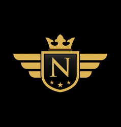 letter n shield wing vector image