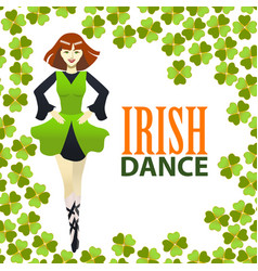 Light irish dance studio template in cartoon style vector