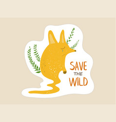 little fox with a tear begging for saving wild vector image