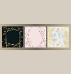 marble squared card with gold line set vector image