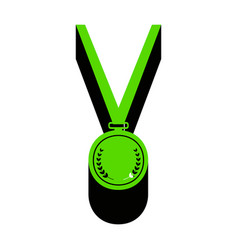 Medal simple sign green 3d icon with vector