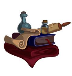 Medieval book manuscripts scroll vials and plaid vector