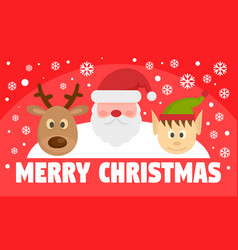 merry christmas concept banner flat style vector image