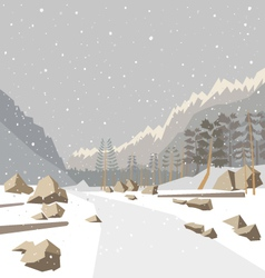 Mountain winter snow landscape vector image