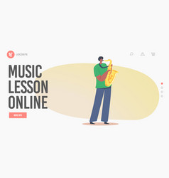 Music lesson online landing page template african vector
