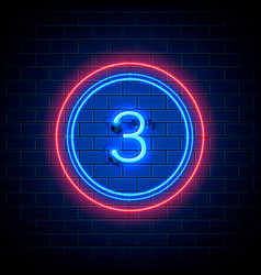 Neon city font sign number 3 vector