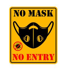 no mask entry emblem with medical mask design vector image