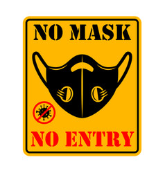 no mask no entry emblem with medical mask design vector image