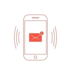 outline red smartphone with one email icon vector image