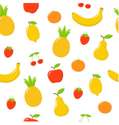 Pattern cute bright colors fruits collections vector