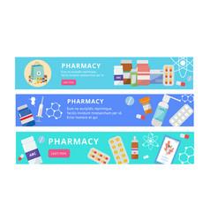 pharmacy banner set - flat cartoon website vector image