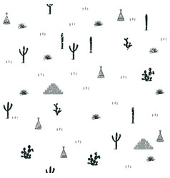 Pyramids indian tents saguaro agaves and opuntia vector