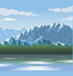 realistic landscape background of snowy mountains vector image vector image