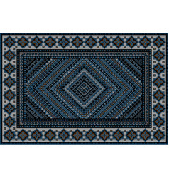 Rug in blue shades with original pattern in middle vector