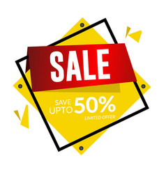 sale save up to 50 limited offer square frame vec vector image
