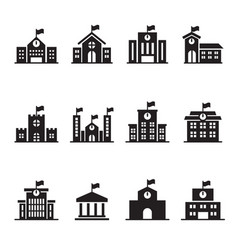 school building icons set vector image
