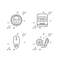 Scroll down face detect and ssd icons set vector