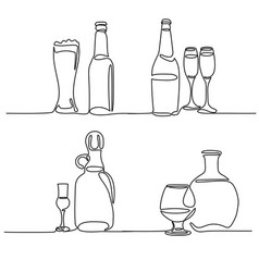 Set bottle and glass isolated vector