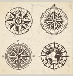 set vintage antique wind rose nautical compass vector image