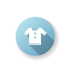 T shirt blue flat design long shadow glyph icon vector
