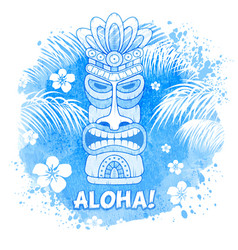 Tiki mask on watercolor background vector