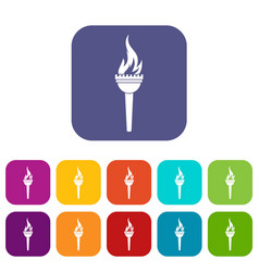 Torch icons set flat vector