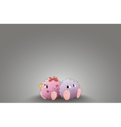 Two cute cartoon monster back to back rear light vector