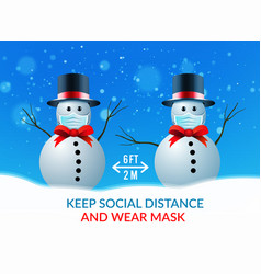two snowmen at a safe distance and wearing vector image