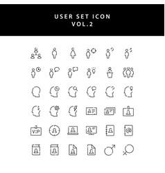 user outline icon set vol2 vector image