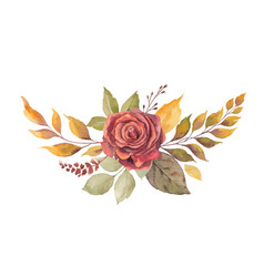 watercolor autumn wreath with red rose and vector image