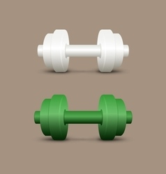 White and green dumbbells vector