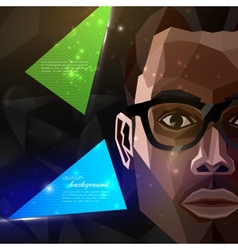 With an african american man face in polygonal vector