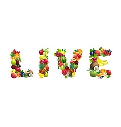 Word live composed different fruits with leaves vector