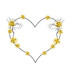 Yellow Flowers in A Beautiful Heart Shape vector image