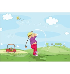 Young golfer vector