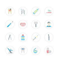 cartoon dental health care color set vector image