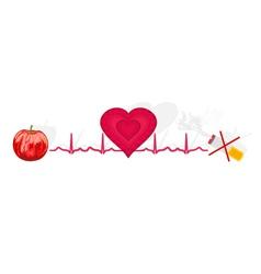 Education Ekg heart apple ok cigarette no vector image