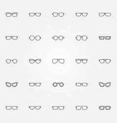 glasses icons set eyeglasses outline vector image