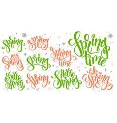 hand lettering hello spring text set vector image