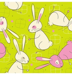 Seamless Easter Rabbit Pattern vector image vector image