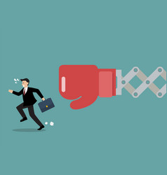 businessman run away from big boxing glove hand vector image vector image
