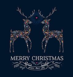 Christmas love reindeer vintage greeting card vector image vector image