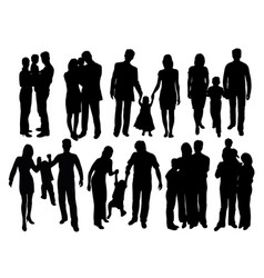 happy and cool family silhouettes vector image