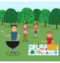 Happy family picnic vector image