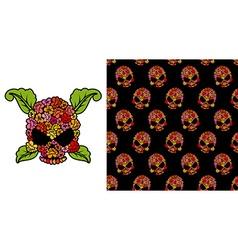 Jolly Roger of roses Flower skull Pattern skulls vector image