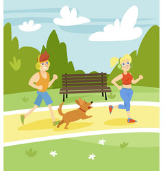 man and woman running with dog in the park summer vector image